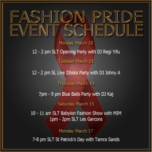 Fashion Pride Event Schedule