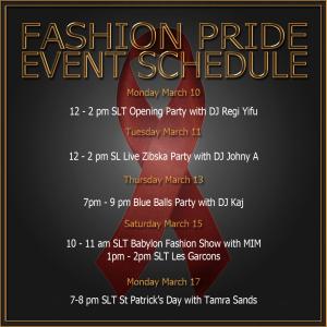 Fashion Pride Event Schedule