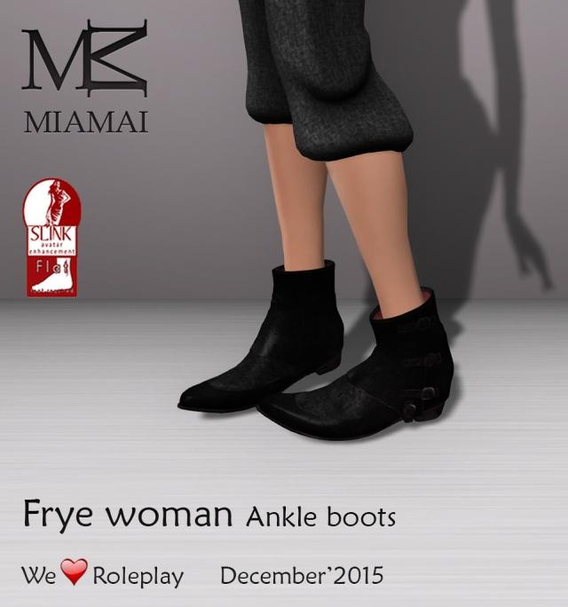 Miamai_FryeWoman AnkleBoots (female Slink flat) AD